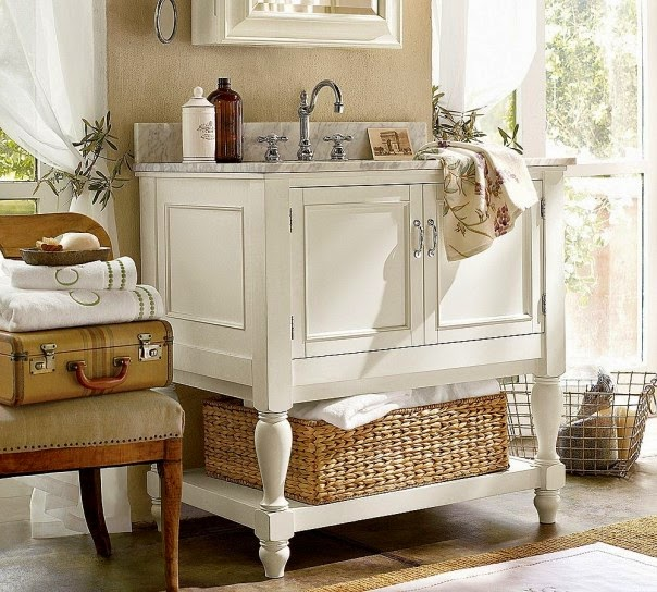 Baños Estilo Shabby Chic:En un baño Shabby chic los muebles deben ser diferentes, es