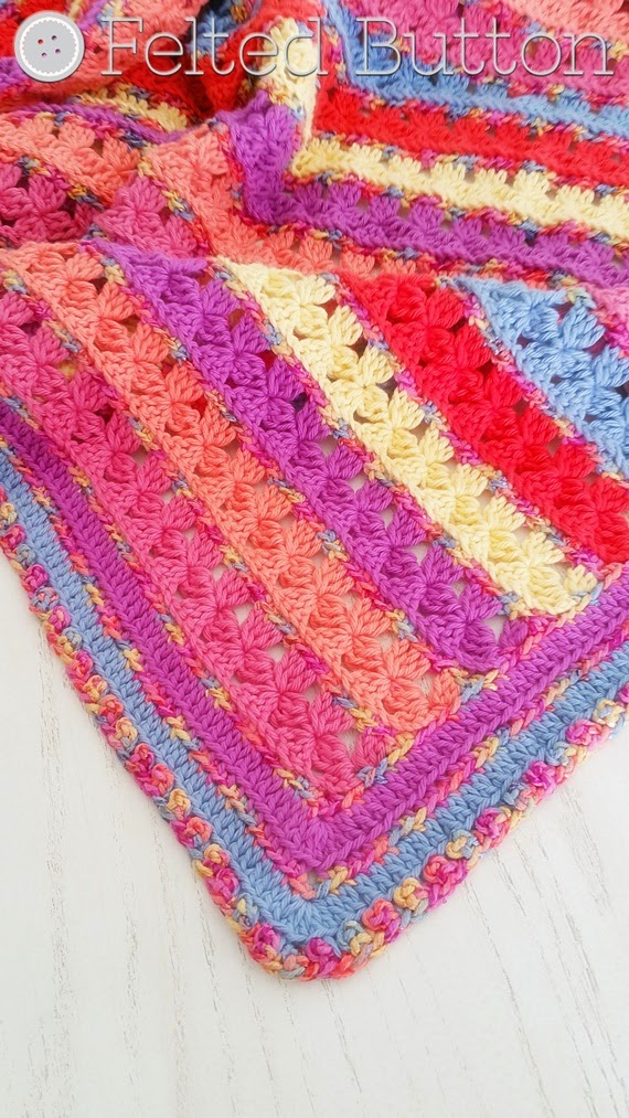 Rows of Posiet Blanket Crochet Pattern by Felted Button