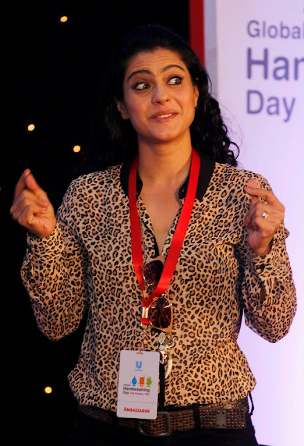 Kajol Devgan at a campaign to promote hand washing