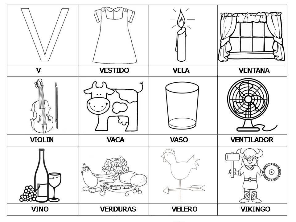 Laminas con dibujos para aprender palabras y colorear con letra: V