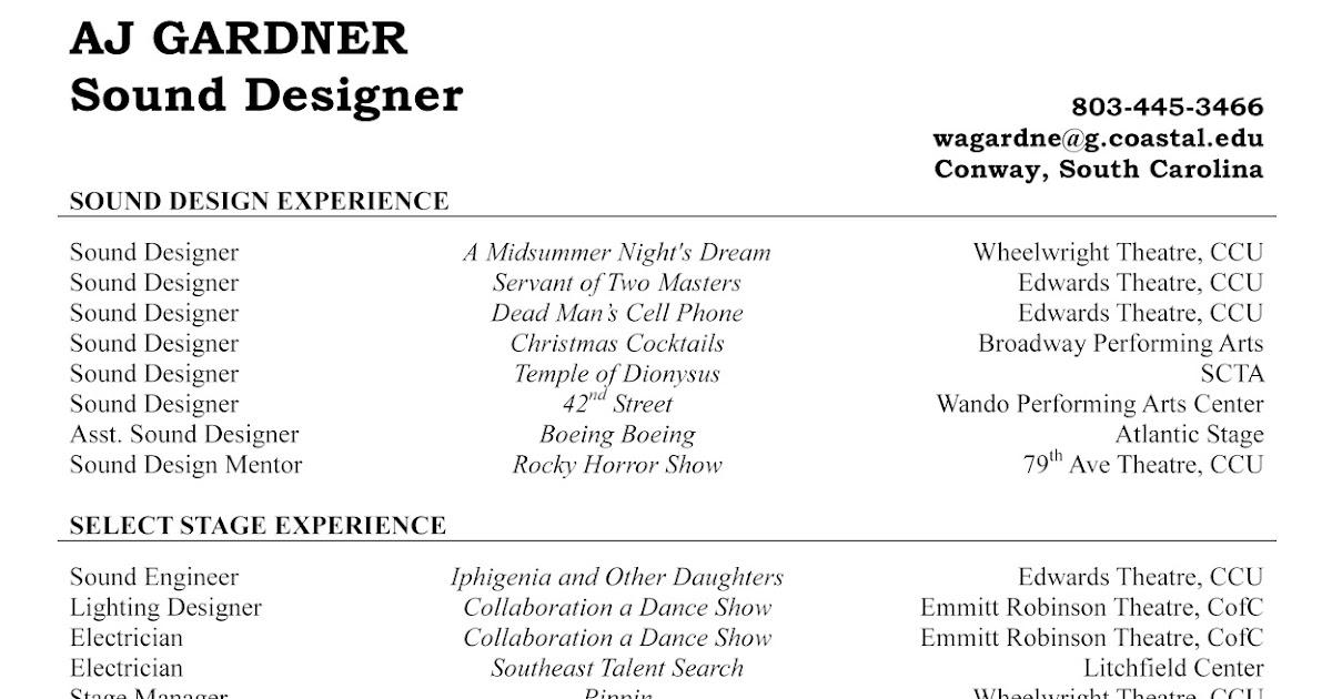 aj gardner  theatre technician  sound designer resume