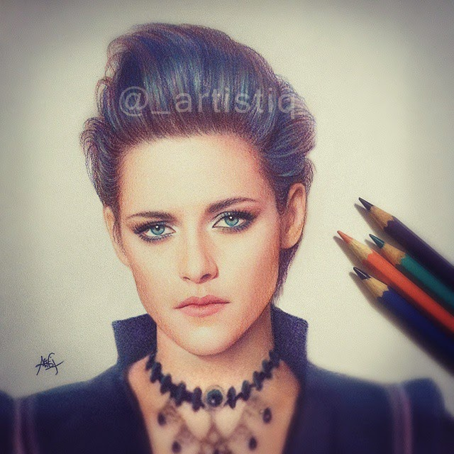 06-Kristen-Stewart-Cas-_artistiq-Colored-Celebrity-and-Cartoon-Drawings-www-designstack-co