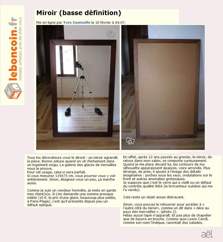A l le blog les extraordinaires annonces de dauteuille for Miroir definition