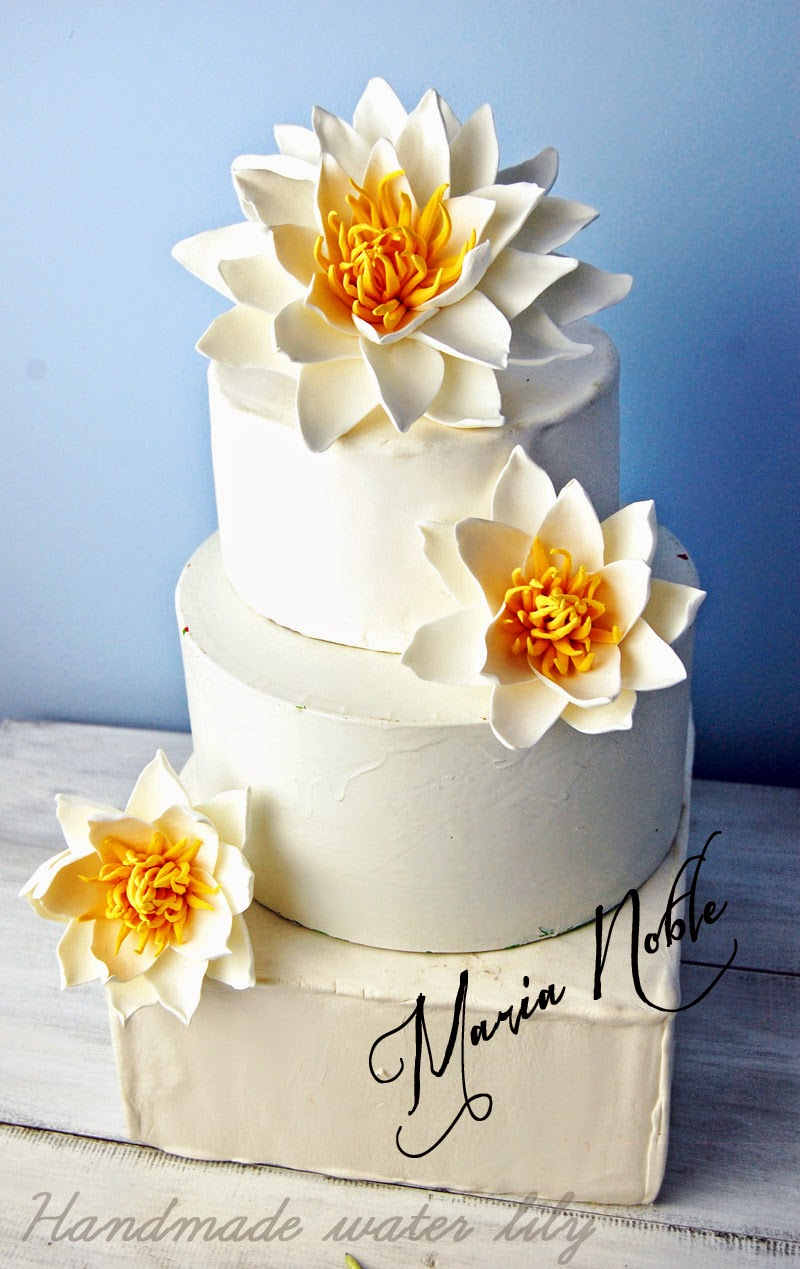 Water lily wedding cake topper garden wedding close to a pond of water lily wedding cake topper sugar flowers izmirmasajfo Gallery