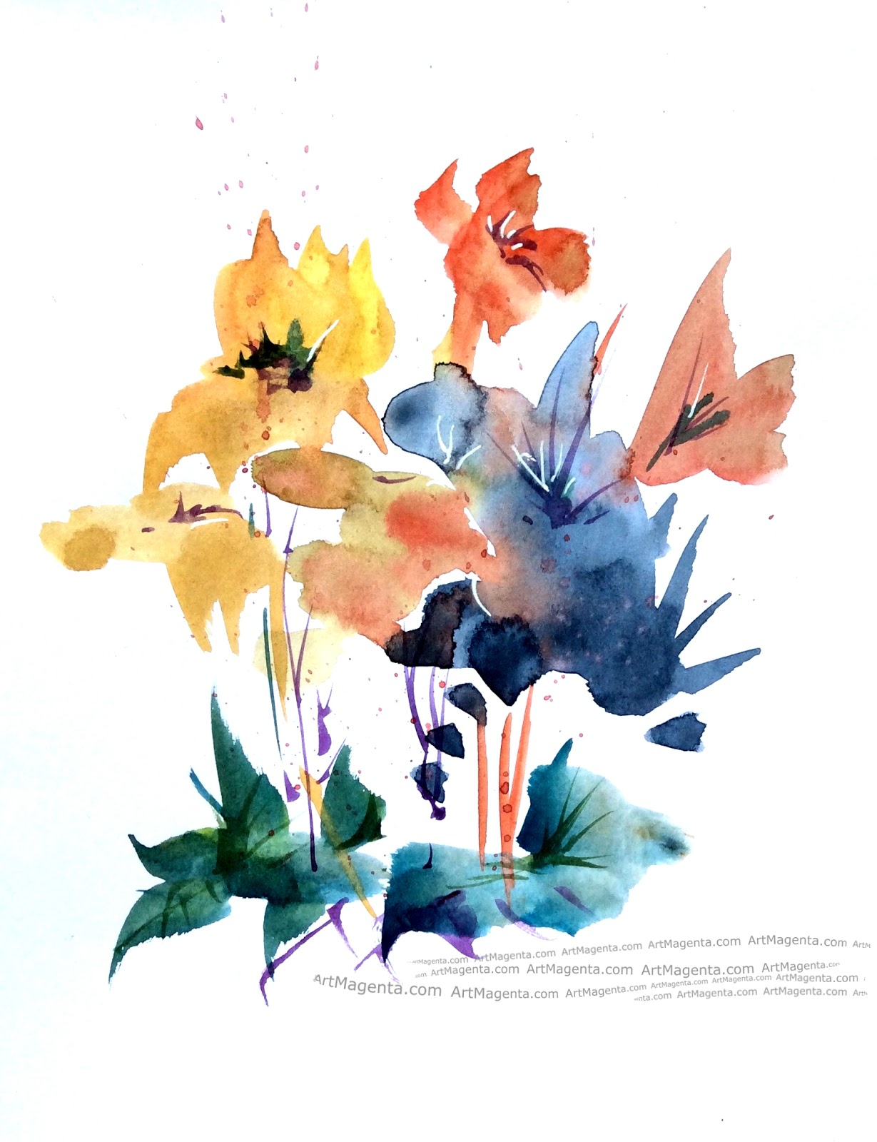 Water color flowers by Artmagenta