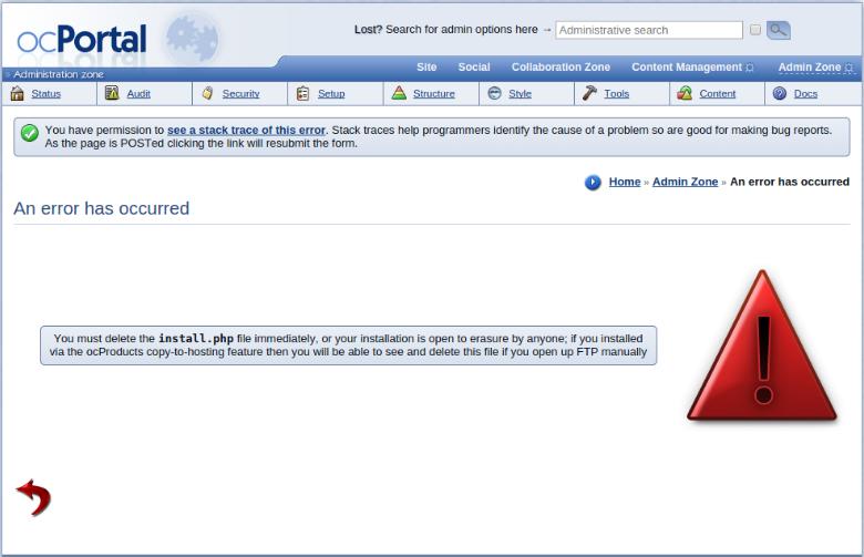 error install.php ocportal