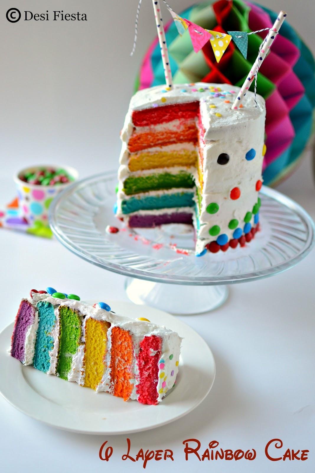 Eggless Rainbow Cake Recipe