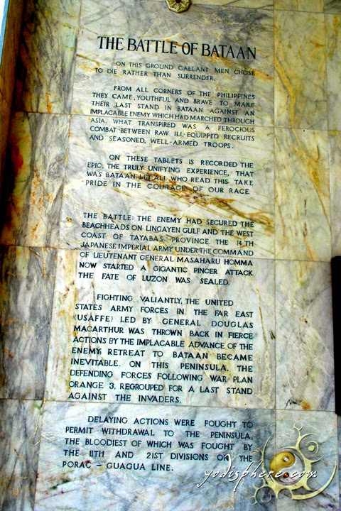Wall insciptions about the Battle of Bataan inside the shrine Colonade.