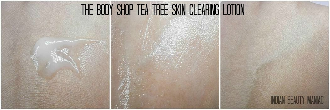 The Body Shop Tea Tree Skin Clearing Lotion for Blemished Skin Swatch and review