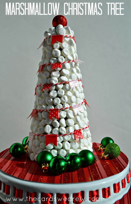 so i made a marshmallow christmas tree with some mini white marshmallows and washi tape garland - Christmas Marshmallows