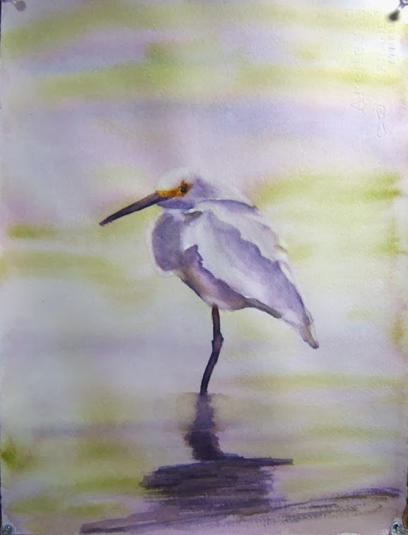 Watercolors and words white egret for White heron paint