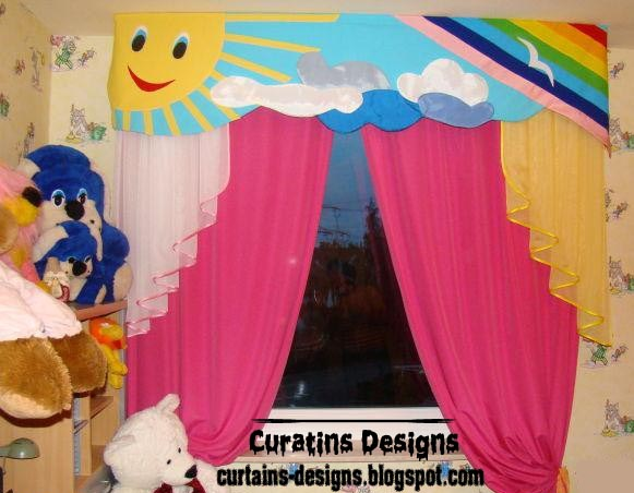 Cool kids room curtain design in summer colors style | Curtain ...