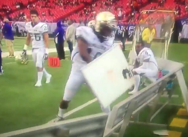 Alcorn State WR Marquis Warford punches dry erase board