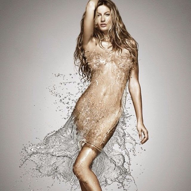 Gisele Bundchen shares an image into Instagram while she wears a water dress