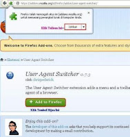 Add-On Mozilla User Agent Switcher