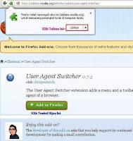 Cara Memasang User Agent Switcher di Mozilla Firefox