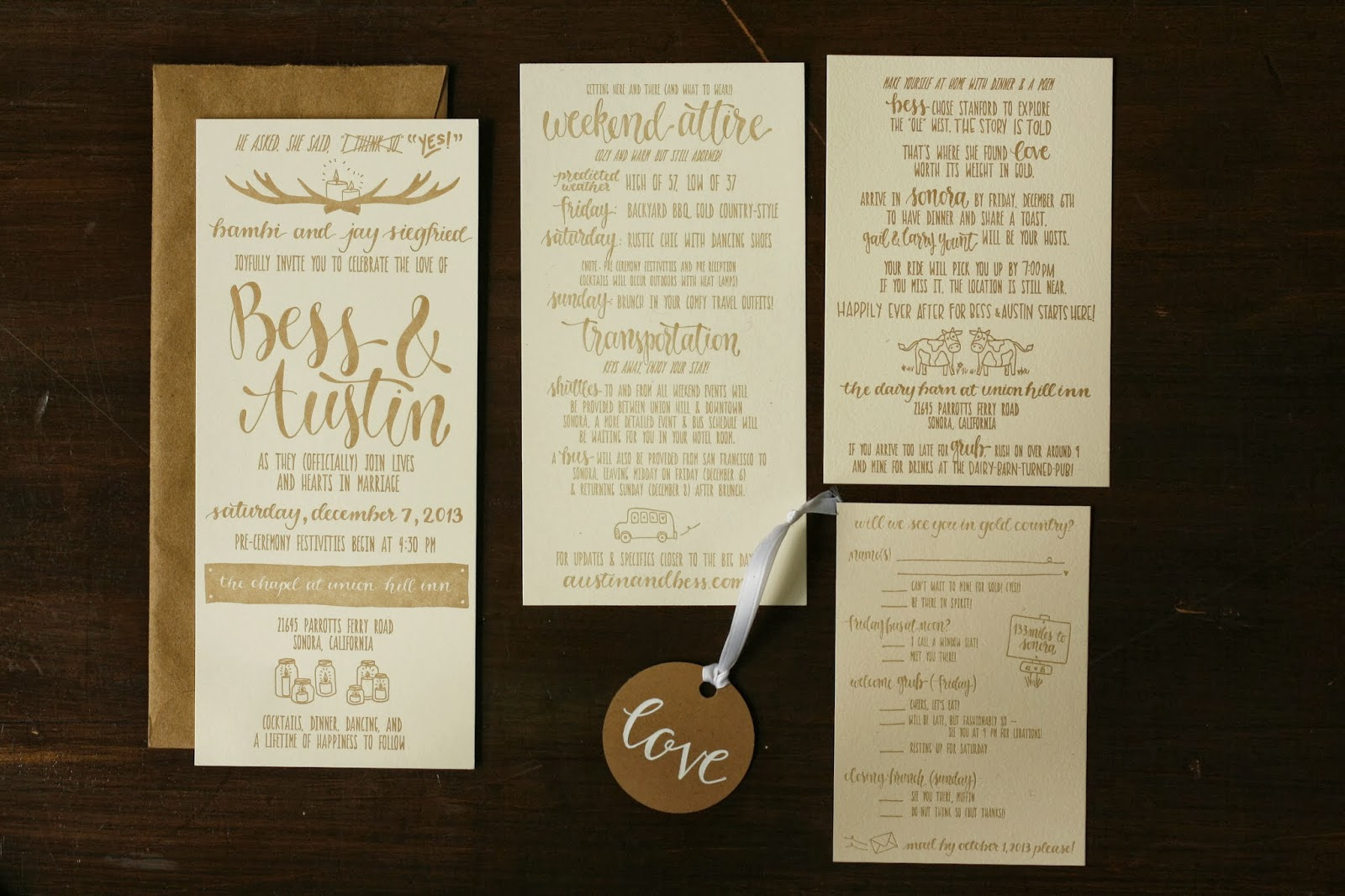 Wedding invitation suite brown fox calligraphy for Wedding invitation suite what to include