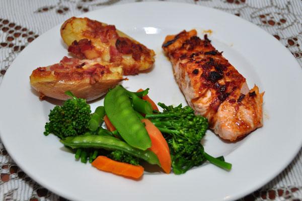 Home-made TGI Jack Daniels salmon