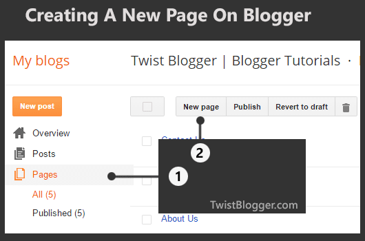 Create A New Page On Blogger