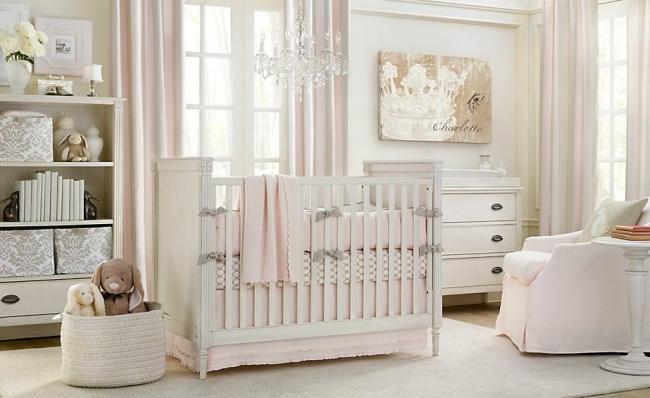 Dormitorio blanco y rosa para beb dormitorios con estilo - Dormitorio para bebes ...