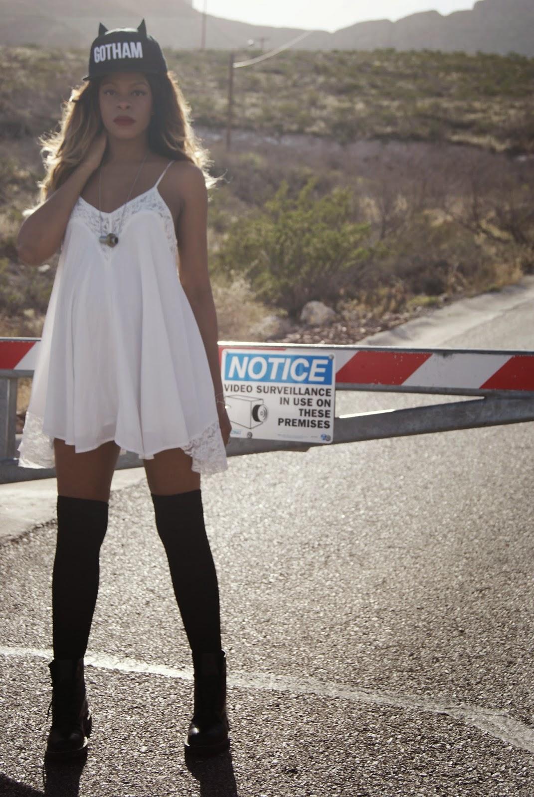slip dress outfit, dr marten boots, allthingsslim, shayla drake, bunny ear hat,