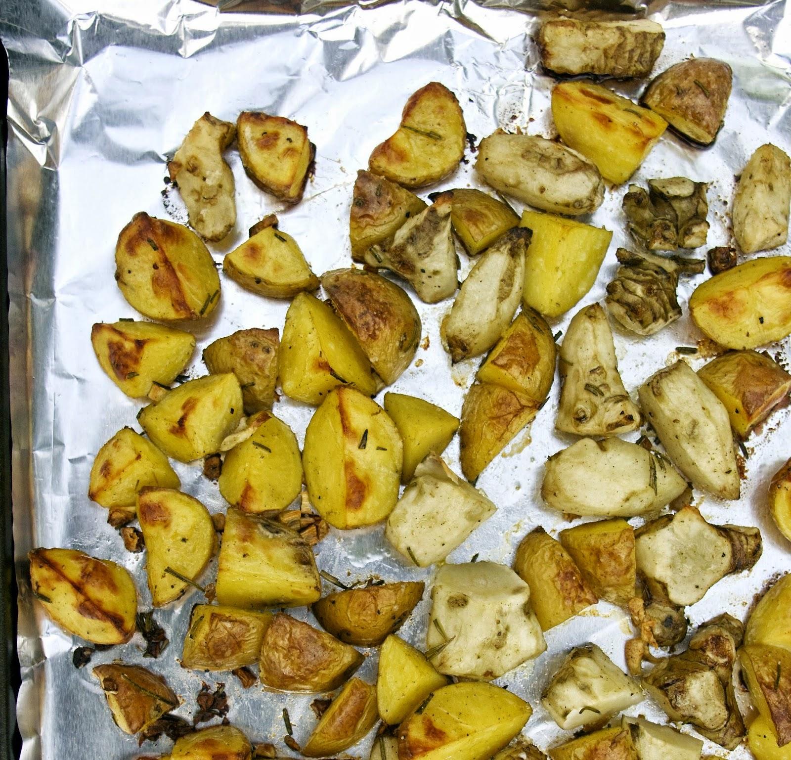 Roasted Jerusalem Artichokes with Garlic & Potatoes- simplelivingeating.com