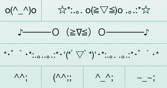 Emoticon Jepang (SERI 4) Emoji Makan Minum, Pertemanan, Menyerah, Bahagia, dan Bersembunyi