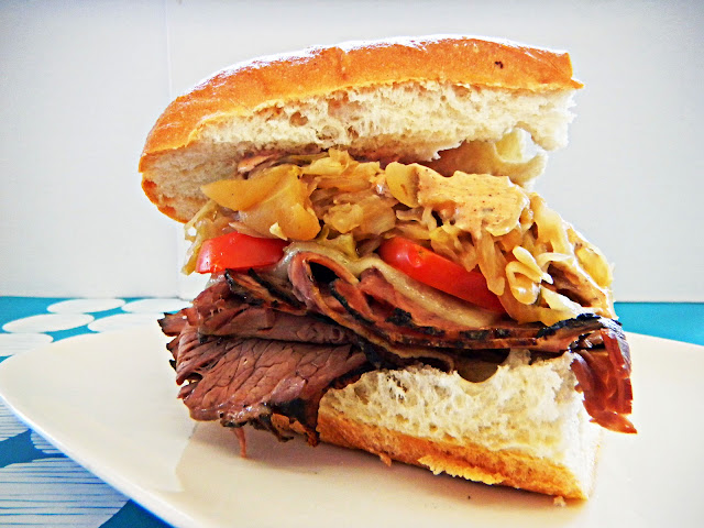 roast beef sandwich with braised cabbage slaw