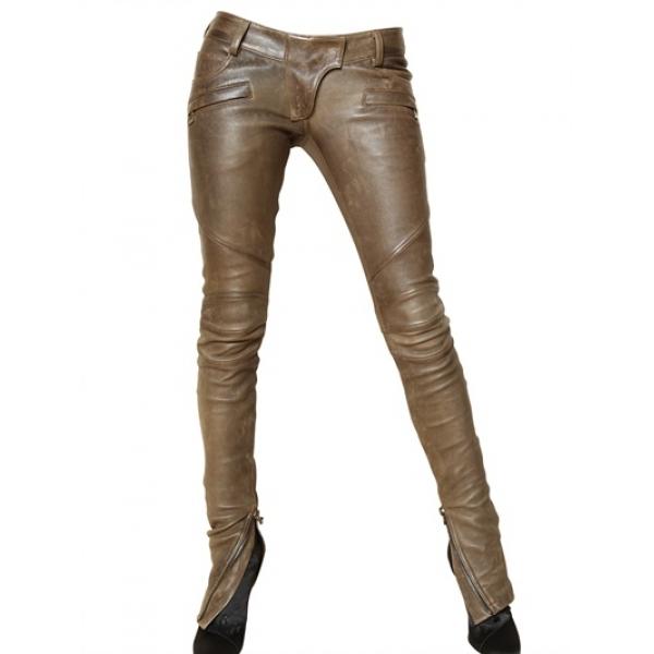Pantalon slim bronze Balmain en cuir