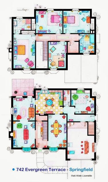 Plano de la casa de la familia Simpson. Los Simpson. Planos de apartamentos de series de televisión