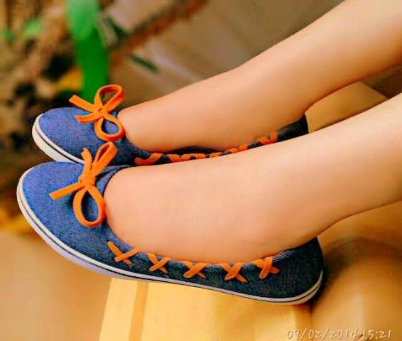 Sepatu Cewek Flat Sepatu Cewek Flat Denim Blue