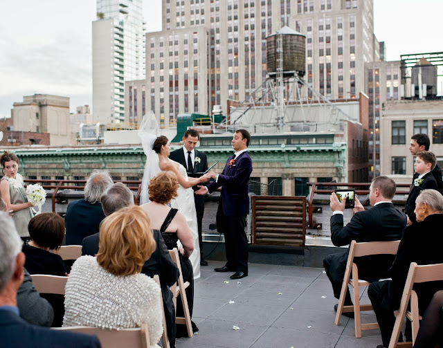 A Model Wedding, vows on a rooftop wedding with Empire State Building