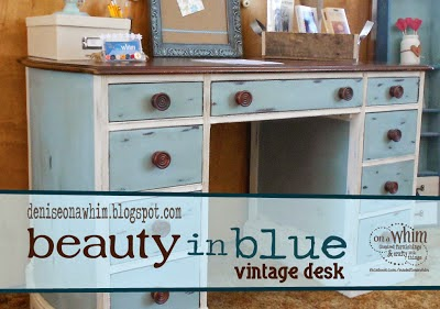 Duck Egg Blue Desk Makeover from Denise on a Whim