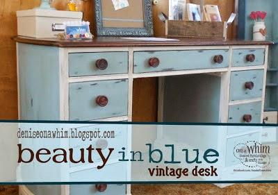 Duck Egg Blue Desk Makeover from Denise on a Whim