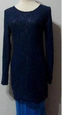 Baju Kurung Lace - dark Blue, Skirt Blue