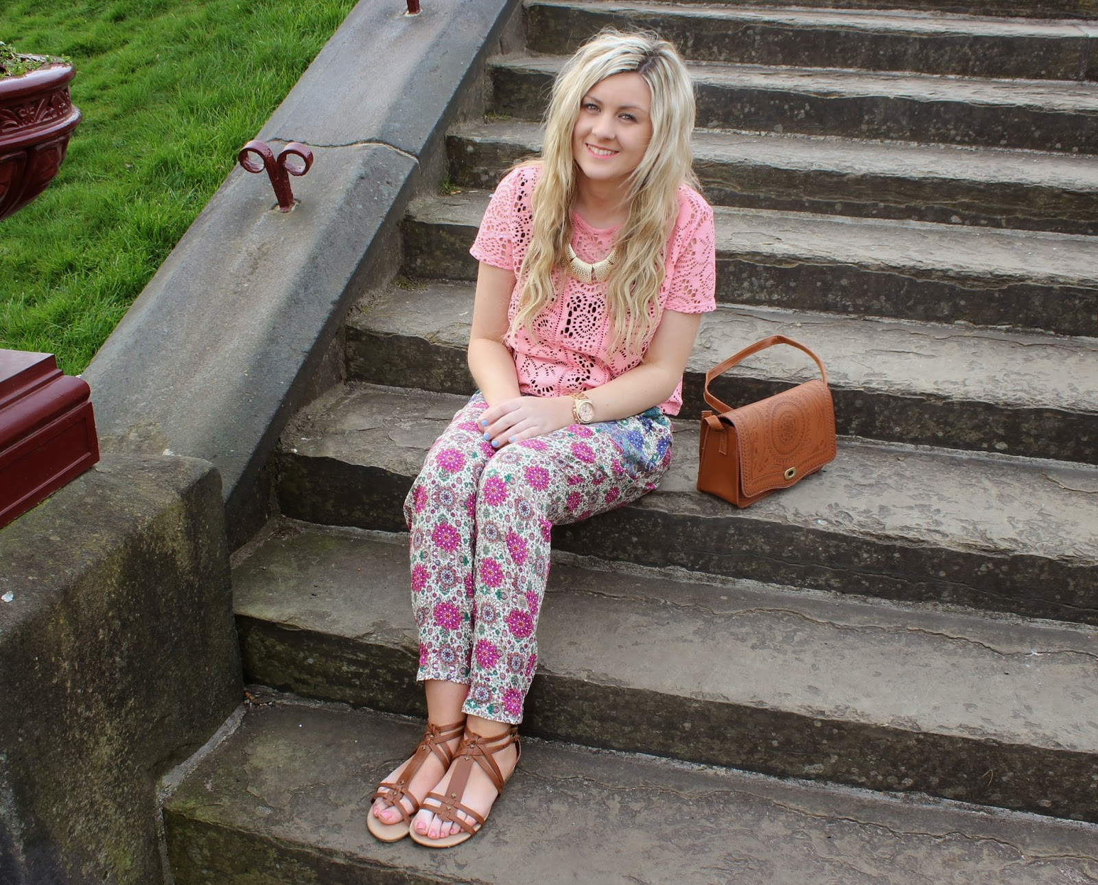 patterned trousers, spring outfit, spring 2014 outfit, spring fashion, through chelsea's eyes,