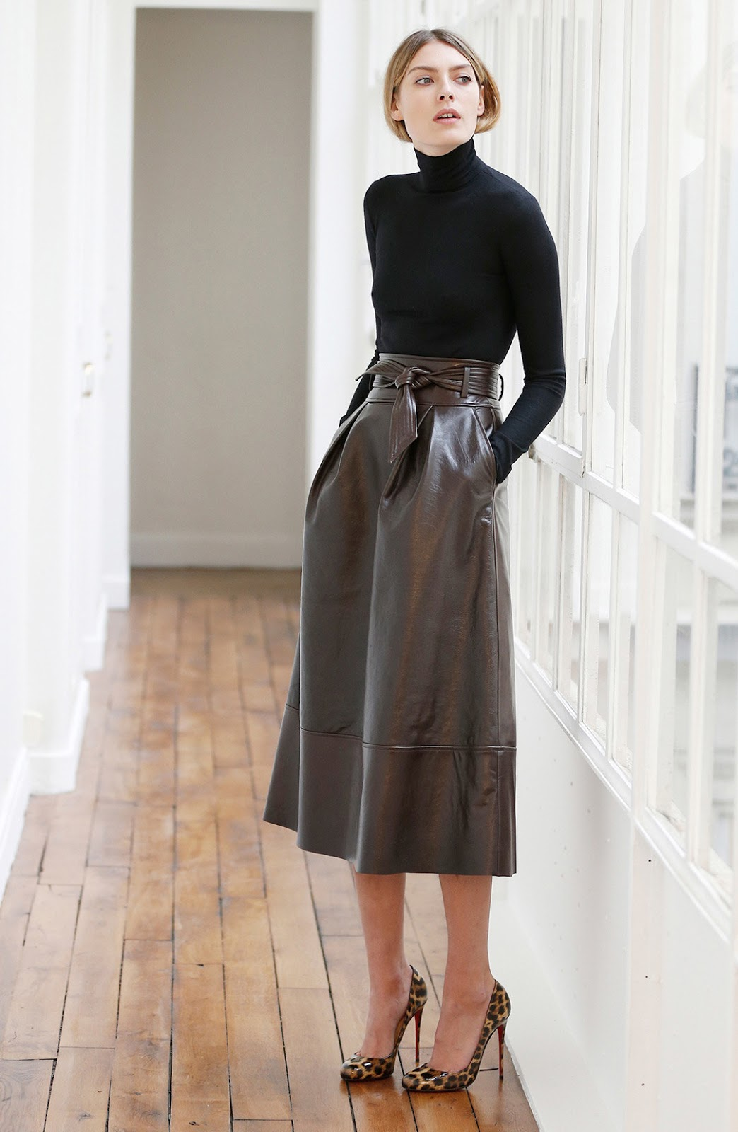 A designer look for less outfit inspired by martin grant pre-fall 2015 collection and parisian style featuring leather midi skirt, turtle neck and animal print pumps.