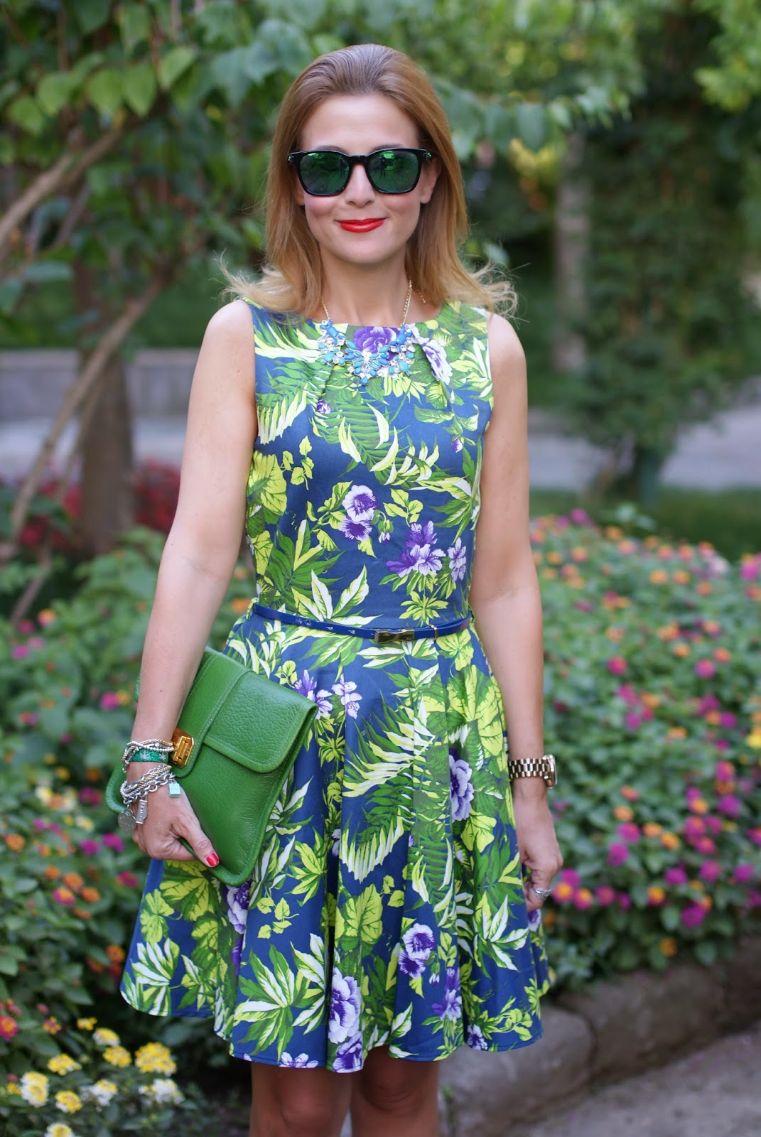 Closet dress, floral print dress, Oakley mirror sunglasses, Lorenzo Mari heels, Fashion and Cookies, fashion blogger
