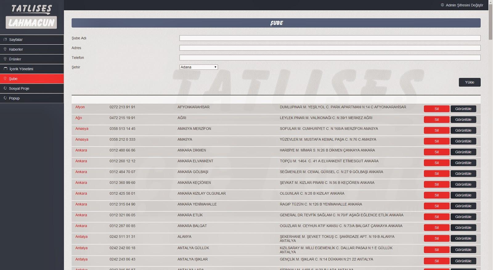 Tatlıses Lahmacun Web Tasarım - Responsive Admin Paneli