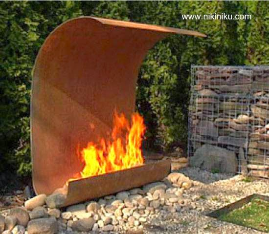 Fire outdoor fireplace