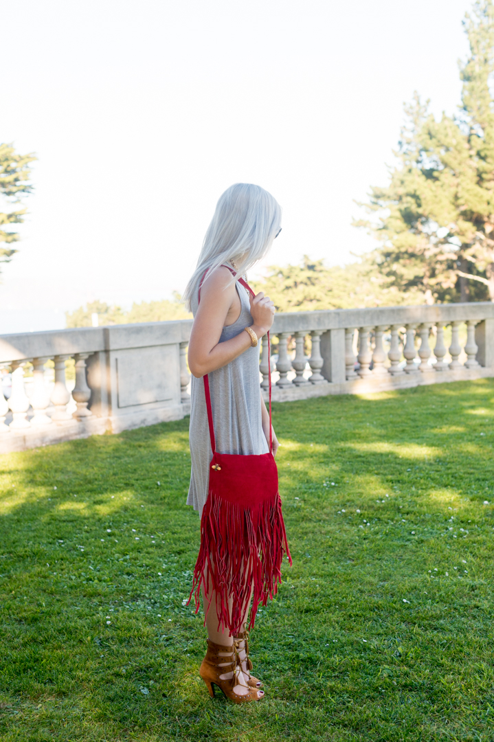 Strappy Boho Sandals from Tobi and Jesslyn Blake Red Frindge Purse on Bryn Newman, San Francisco Fashion Blogger