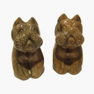 Jasper Bulldog Stone Carving Pair