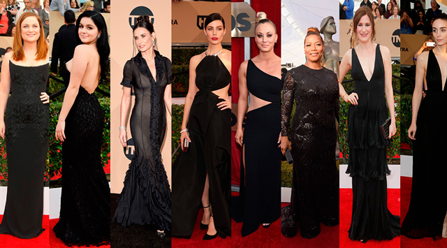 SAG AWARDS 2016, CELEBRIDADES USANDO PRETO: Amy Poeher  Ariel Winter  Demi Moore  Jessica Pare  Kaley Cuoco  Queen Latifa  Kathyrn Hahn  Rooney Mara (FOTO: GETTY IMAGES)