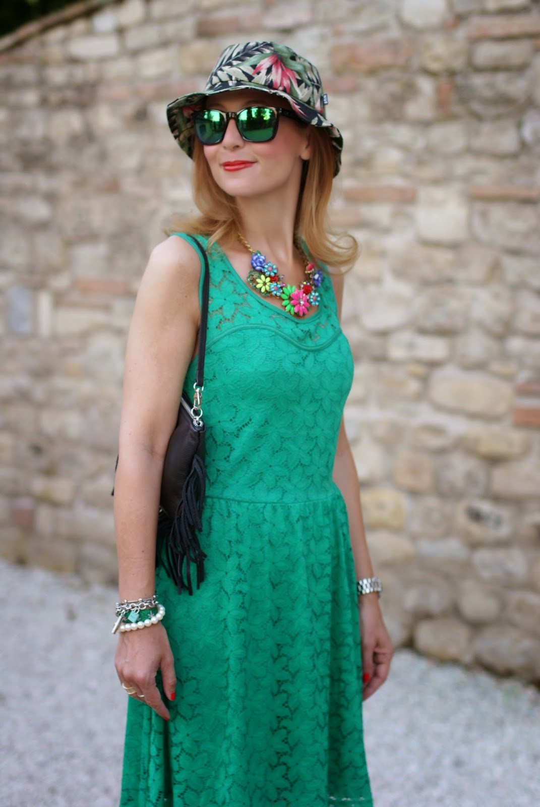 Morgan de toi green lace dress, no brand flowers necklace, fringed bag, tropical bob hat, oakley green sunglasses, Fashion and Cookies, fashion blogger