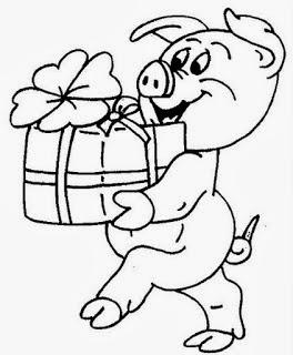 desenho de porquinho com presente e flor