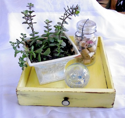 This repurposed drawer painted yellow is perfect for displaying plants.