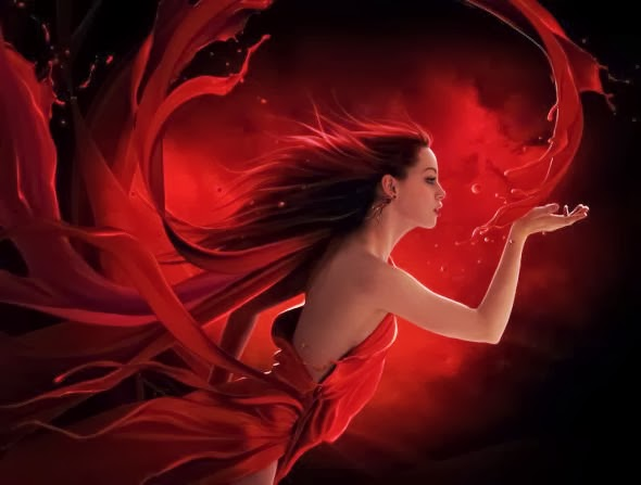 Elena Dudina deviantart art photomanipulation photoshop fantasy surreal dark women beautiful Red splash