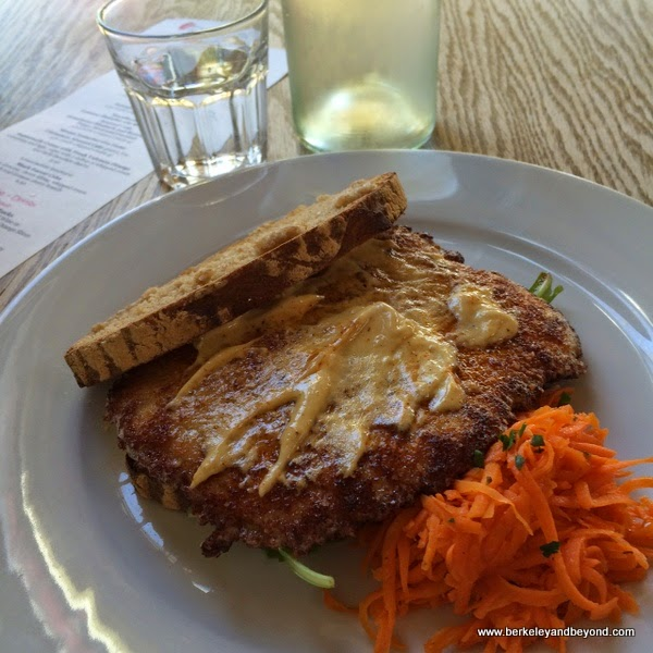 pork schnitzel sandwich at Gaumenkitzel in Berkeley, California