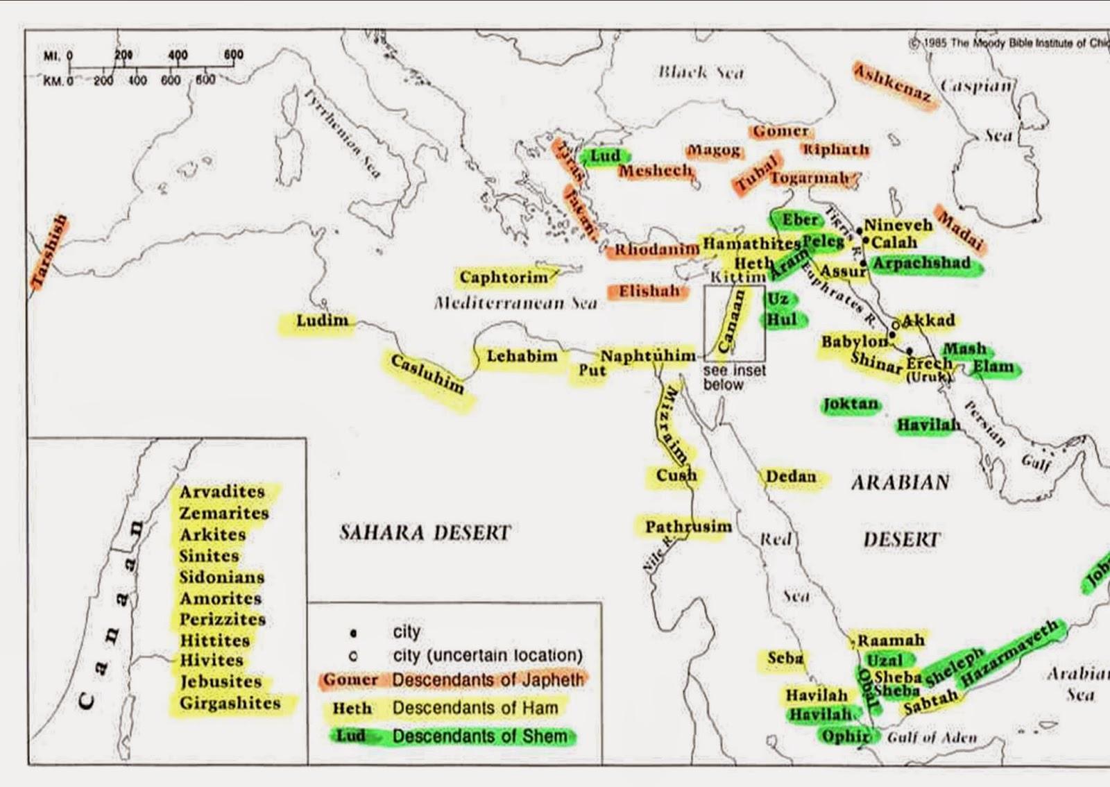 90 Migration Of Noahs Sons Map