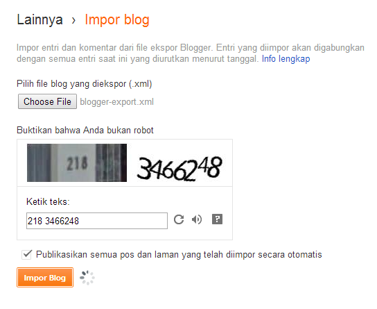 Import dari WordPress ke Blogger